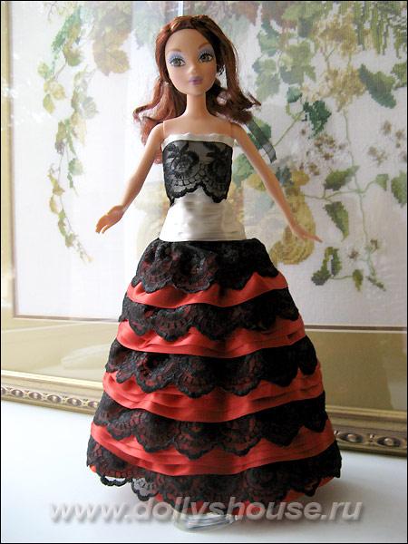 Платье из атласных лент для кукол