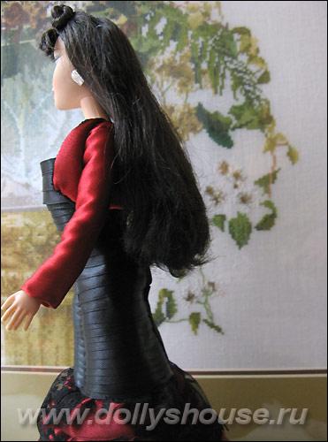 платье из атласных лент и жакет для куклы. ribbondresses-014